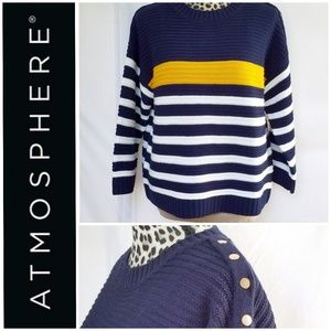 Atmosphere Striped Ribbed Crew Neck Sweater